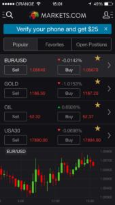 markets.com Mobile Screen